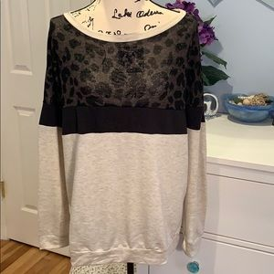 Tops - Color Block French Terry Wide Neck Sweatshirt